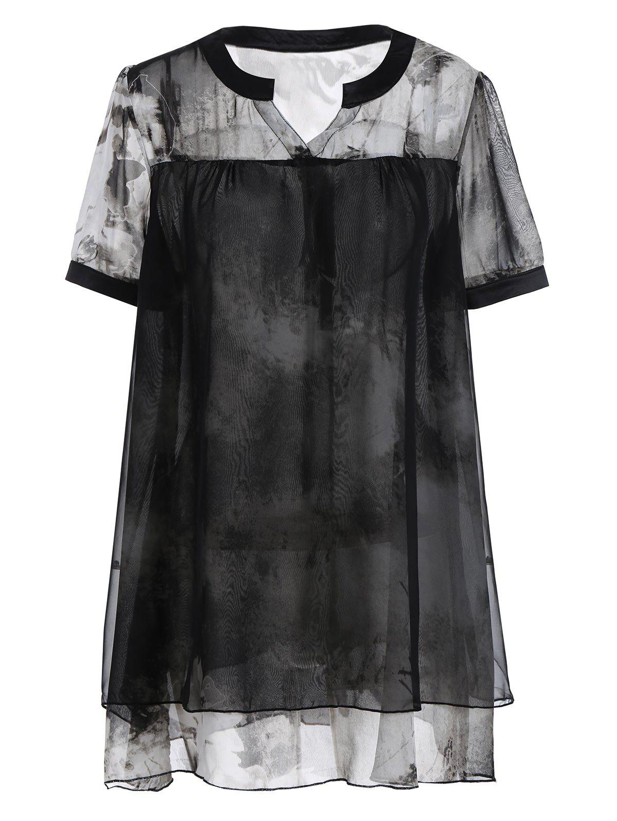 Plus Size Layered Tie Dye Chiffon Swing Top pearl detail layered frill sleeve top