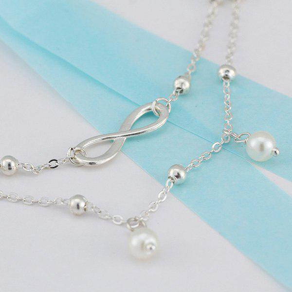 Fake Pearl Beads 8 Shape Double Layered Anklet - SILVER