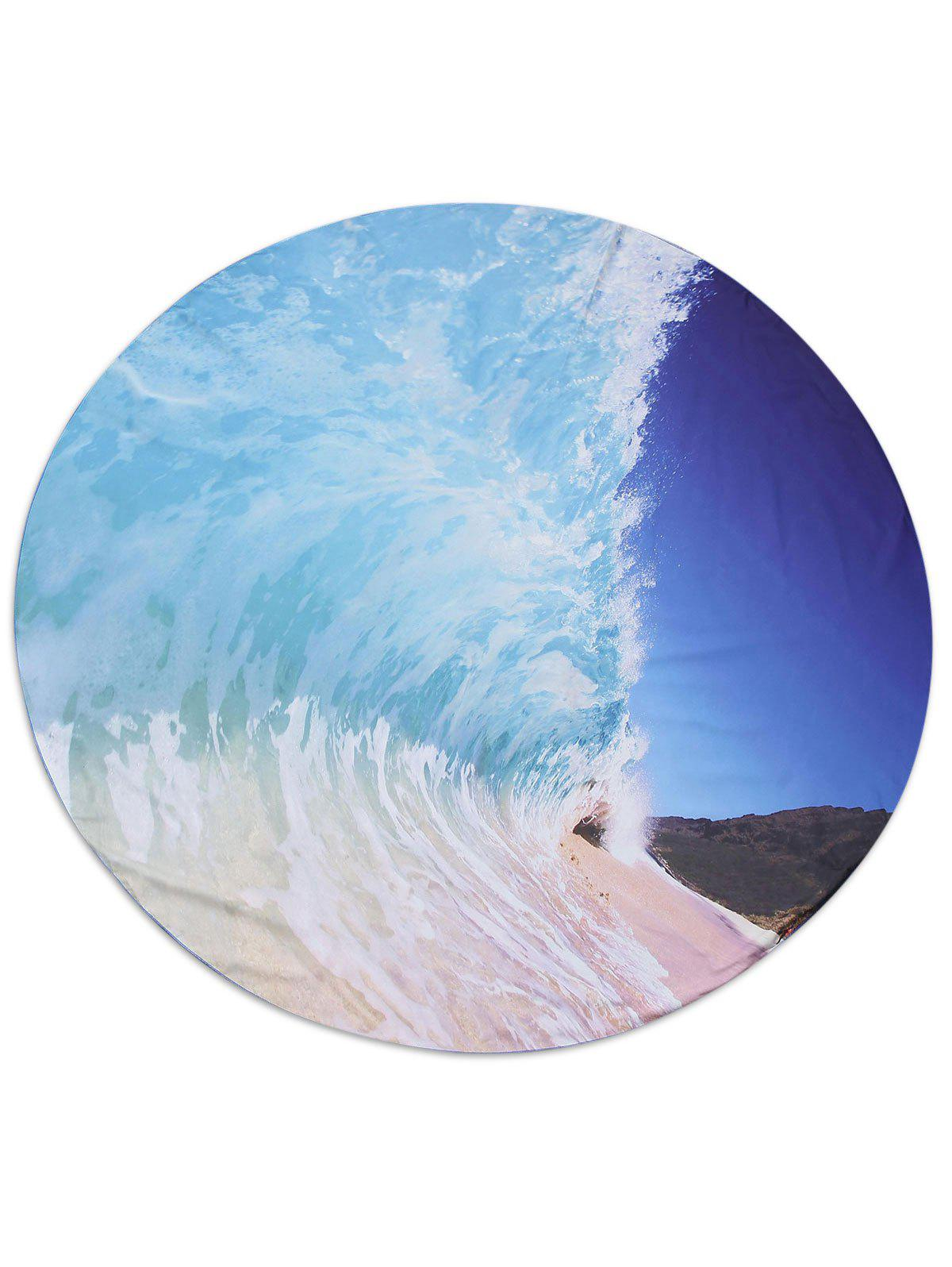 Round Fabric Sea Wave Print Beach Throw - ICE BLUE 150*150CM