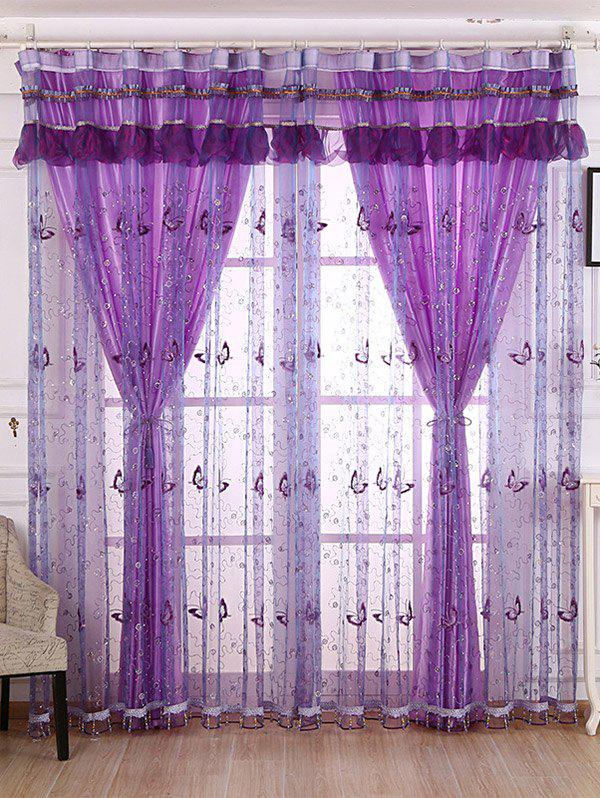 Beaded Sheer Sequin Window Window Curtain - Suède Rose W40INCH*L79INCH