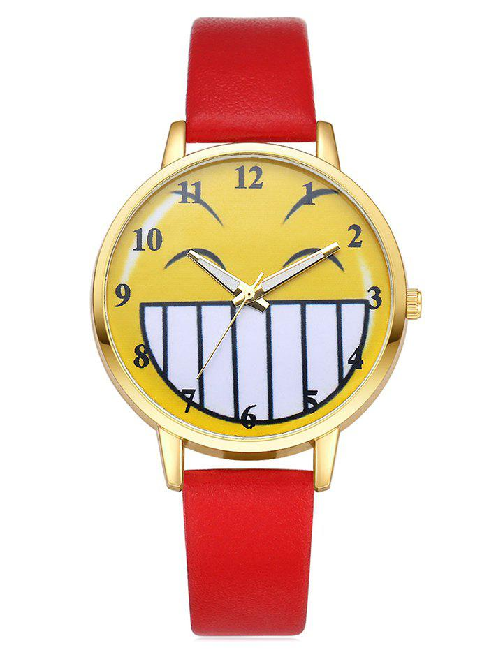 Cartoon Emoticon Smile Face Watch, Red