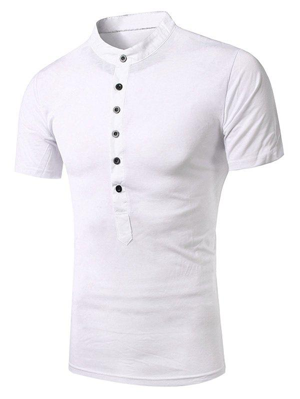 Splicing Design Stand Collar Short Sleeve Men's T-Shirt - WHITE XL