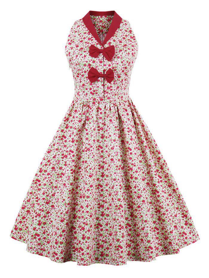Floral Print Bowknot Vintage Dress - RED XL