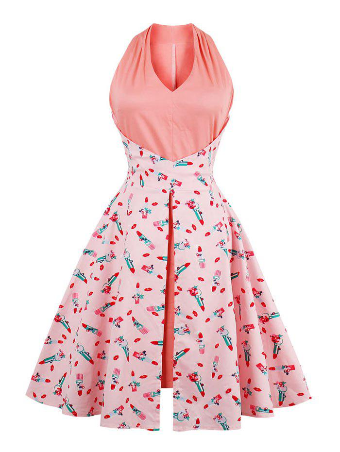 V Neck Lip Print Vintage Dress - PINK S