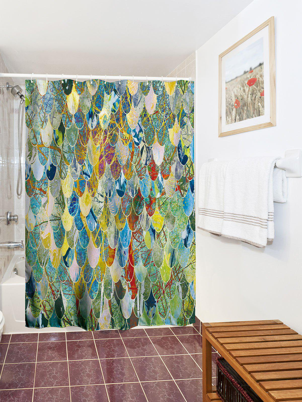2018 art fish scale unique bathroom shower curtain colormix w inch l inch in shower curtains. Black Bedroom Furniture Sets. Home Design Ideas
