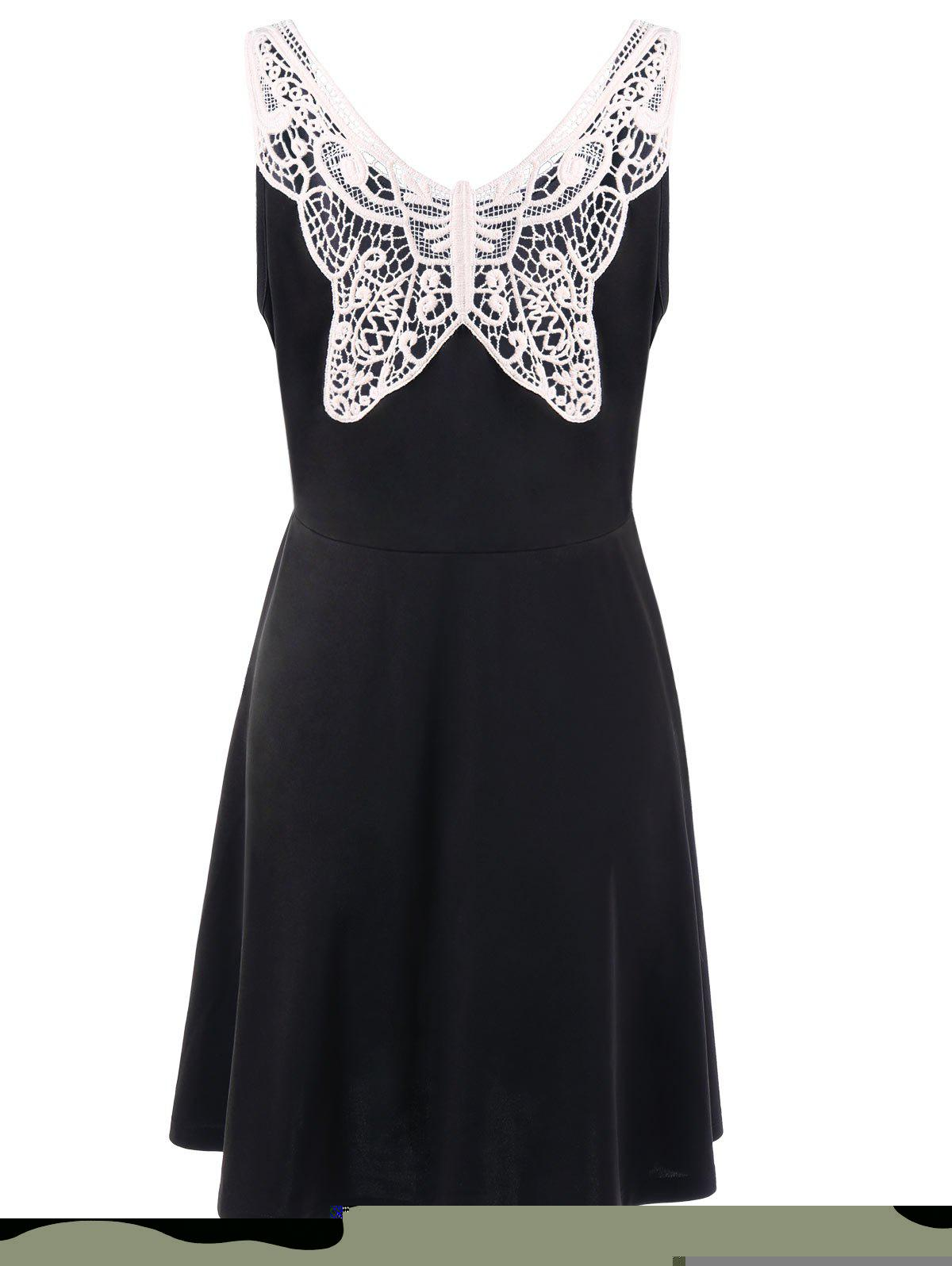 Plus Size Lace Panel Skater Dress - BLACK XL