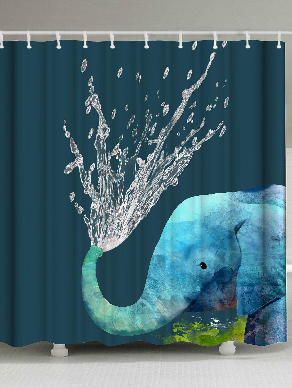 African Elephant Animal Fabric Shower Curtain
