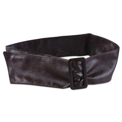 Adjustable Faux Leather Oversize Waist Belt - COFFEE