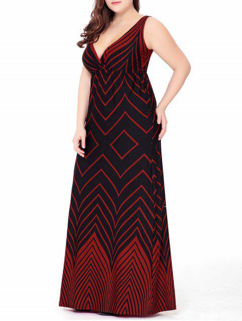 Plus Size Zigzag Plunge Floor Length Maxi Beach Dress - RED 4XL