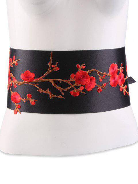 Chinoiserie Banded Flowers Branch Embroidery Corset Belt - BRIGHT RED