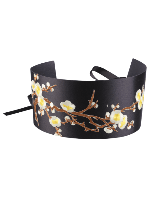 Chinoiserie Banded Flowers Branch Embroidery Corset Belt - YELLOW