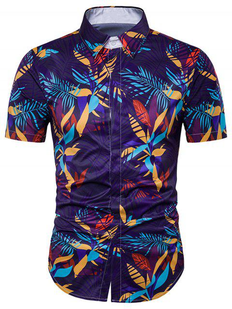 Cover Placket Leaves Printed Hawaiian Shirt - COLORMIX XL