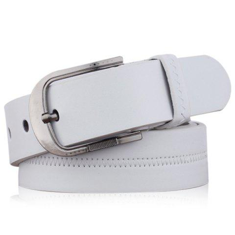 Brodé Faux Leather Star Pin Buckle Belt - Blanc