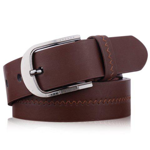 Embroidered Faux Leather Star Pin Buckle Belt - COFFEE
