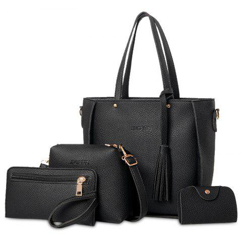 Faux Leather Tassel Tote Bag Set - BLACK