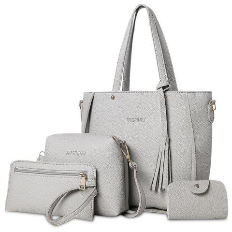 Faux Leather Tassel Tote Bag Set - GRAY