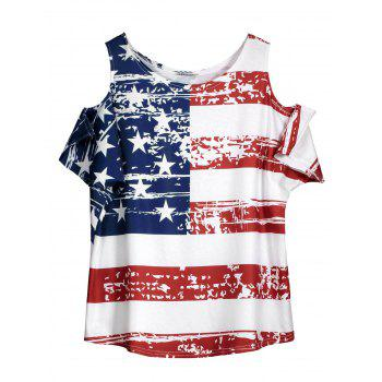 Cold Shoulder American Flag T Shirt