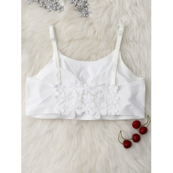 Floral Lace Insert Padded Cropped Tank Top