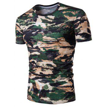 Camo Print Star Crew Neck T-Shirt