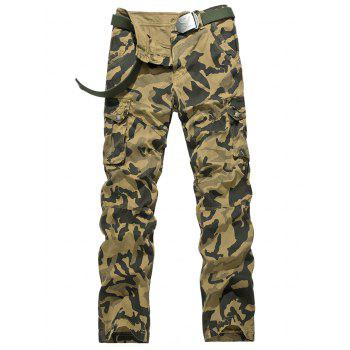 Straight Leg Multi Pockets Cargo Camo Pants