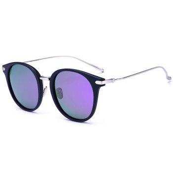Round Reflective Mirrored Metallic Crossbar Splicing Sunglasses