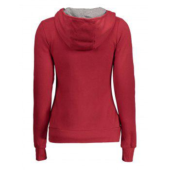 Metal Buttons Pullover Hoodie - RED L