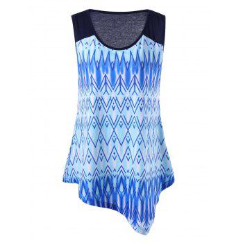 Plus Size Zigzag Ombre Asymmetric Tank Top