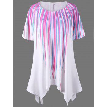 Plus Size Stripe Painting Asymmetric T-Shirt