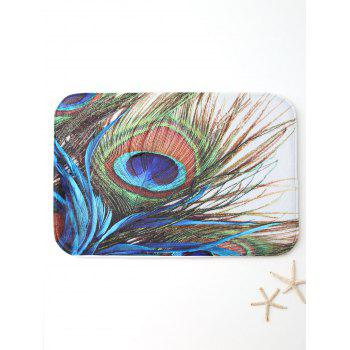Peacock Feather Print Bath Area Rug