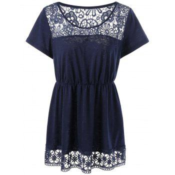 Plus Size Lace Panel Empire Waist Top