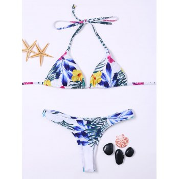 Wirefree Tropical Floral Halter Thong Bikini