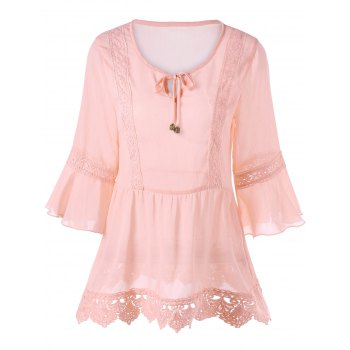 Tie Front Lace Hem Flare Sleeve Blouse