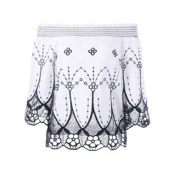 Cutwork Embroidery Off The Shoulder Blouse