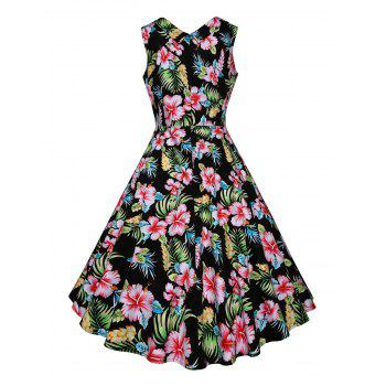 Vintage Floral Printed Fit and Flare Dress - GREEN M