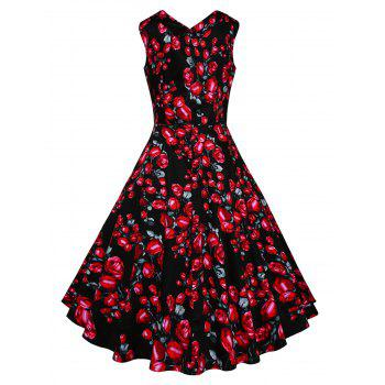 Vintage Floral Printed Fit and Flare Dress - RED L