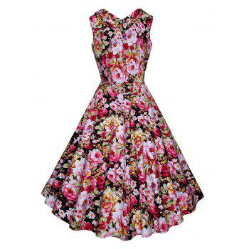 Vintage Floral Printed Fit and Flare Dress - PINK XL