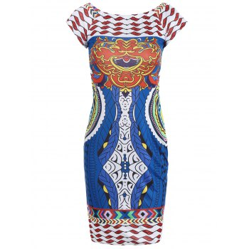 Tribal Printed Short Sleeve Bodycon Dress