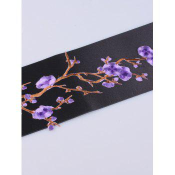 Chinoiserie Banded Flowers Branch Embroidery Corset Belt -  PURPLE
