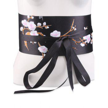 Chinoiserie Banded Flowers Branch Embroidery Corset Belt