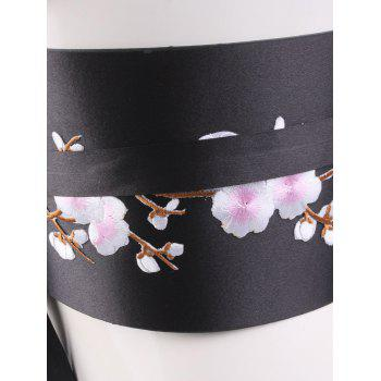 Chinoiserie Banded Flowers Branch Broderie Corset Belt - Rose Clair