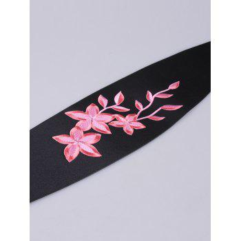 Banded Peach Blossom Embroidered Chinoiserie Corset Belt -  LIGHT PINK