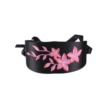 Banded Peach Blossom Embroidered Chinoiserie Corset Belt