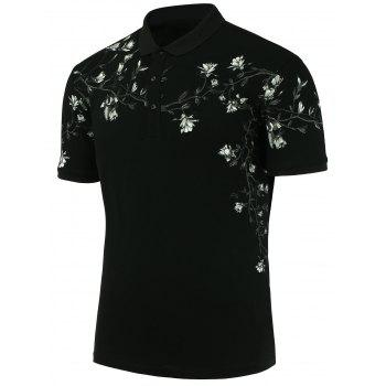 Slim Floral Print Polo Shirt