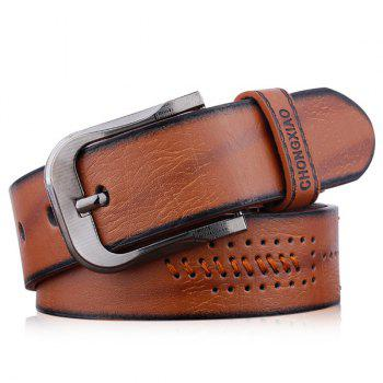 Pin Buckle Fake Leather Embroidered Holes Belt