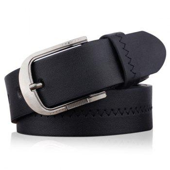 Embroidered Faux Leather Star Pin Buckle Belt - BLACK BLACK