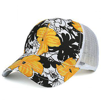 Hand Painting Floral Mesh Spliced Baseball Cap