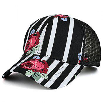 Mesh Splicing Striped Rose Pattern Baseball Cap
