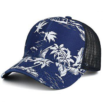 Mesh Splicing Coconut Trees Printed Baseball Cap