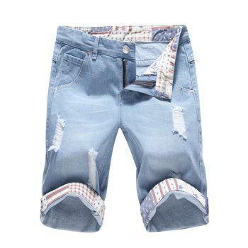 Zipper Fly Distressed Denim Shorts