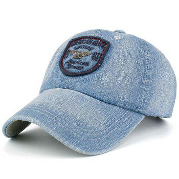 Letters Badge Embellished Denim Baseball Hat